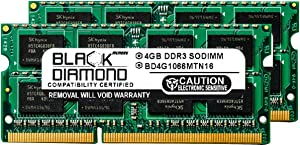 8GB 2X4GB Memory RAM for HP Pavilion Notebooks Dv6-1355dx Entertainment 204pin 1066MHz PC3-8500 DDR3 SO-DIMM Black Diamond Memory Module Upgrade