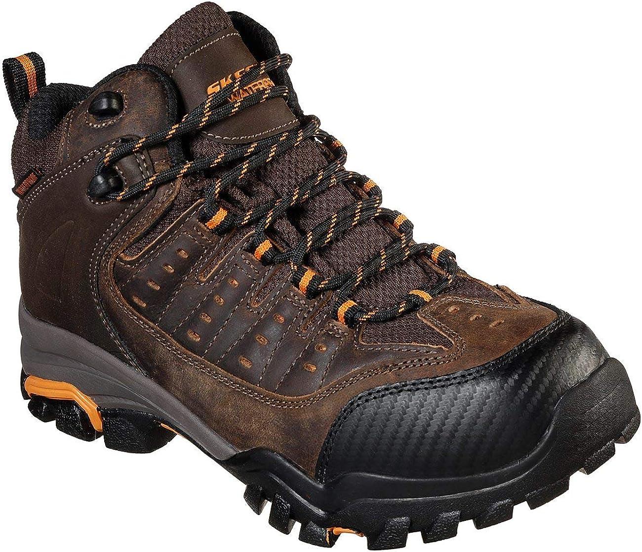 zapatilla Generosidad Menos  Amazon.com | Skechers Men's Delleker Kilrush Wp Waterproof Boots,  Brown/Orange, 11.5 | Industrial & Construction Boots