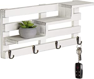MyGift Wall-Mounted Vintage White Wood Tiered Accent Shelf with Key Hooks