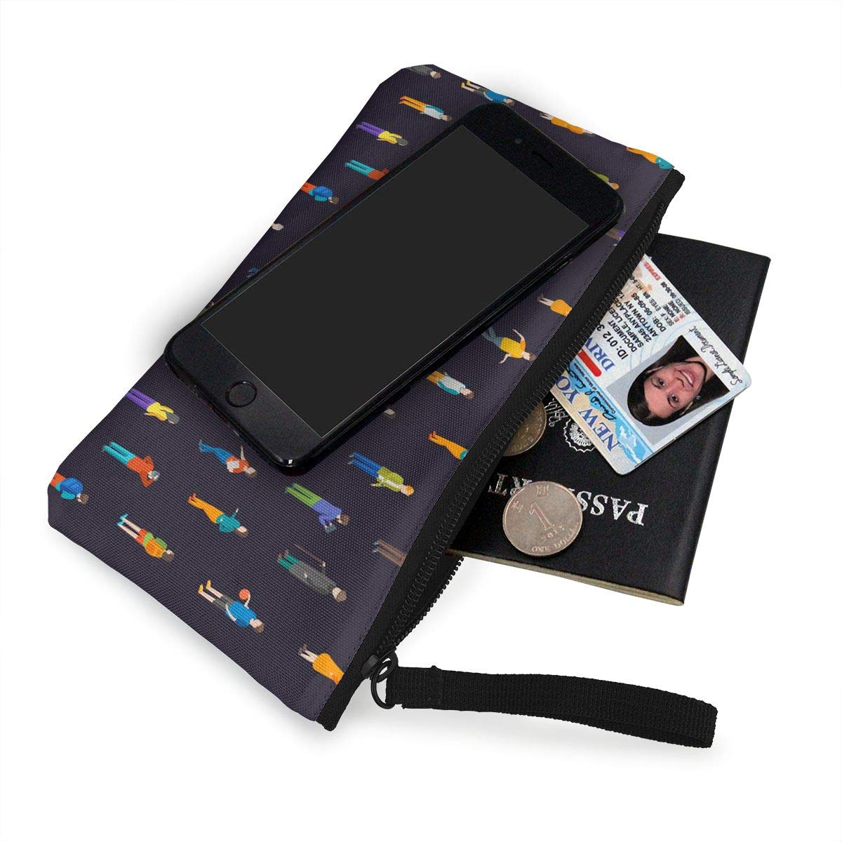 Womens Canvas Coin Case Cellphone Clutch Purse With Wrist Strap People Characters Pattern Zipper Small Purse Wallets