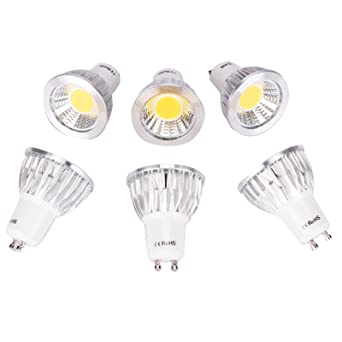 6 Paquete GU10 5W Bombillas LED COB No regulable Proyector 50W Bombilla halógena Equivalente 3000K Blanco