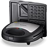Homeleader 3-in-1 Sandwich Maker, Electric Waffle Maker, Panini Press with 3 Detachable Non-stick Plates, Cool Touch Handle and Anti-Skid Feet, Black, 750W, K27-048