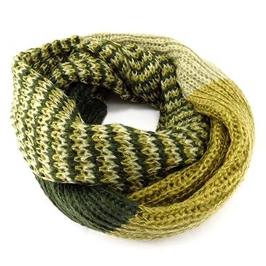 Les Trésors De Lily K6721 - Echarpe tube ou snood  Indispensable  vert  camaieu fd8c01194ec
