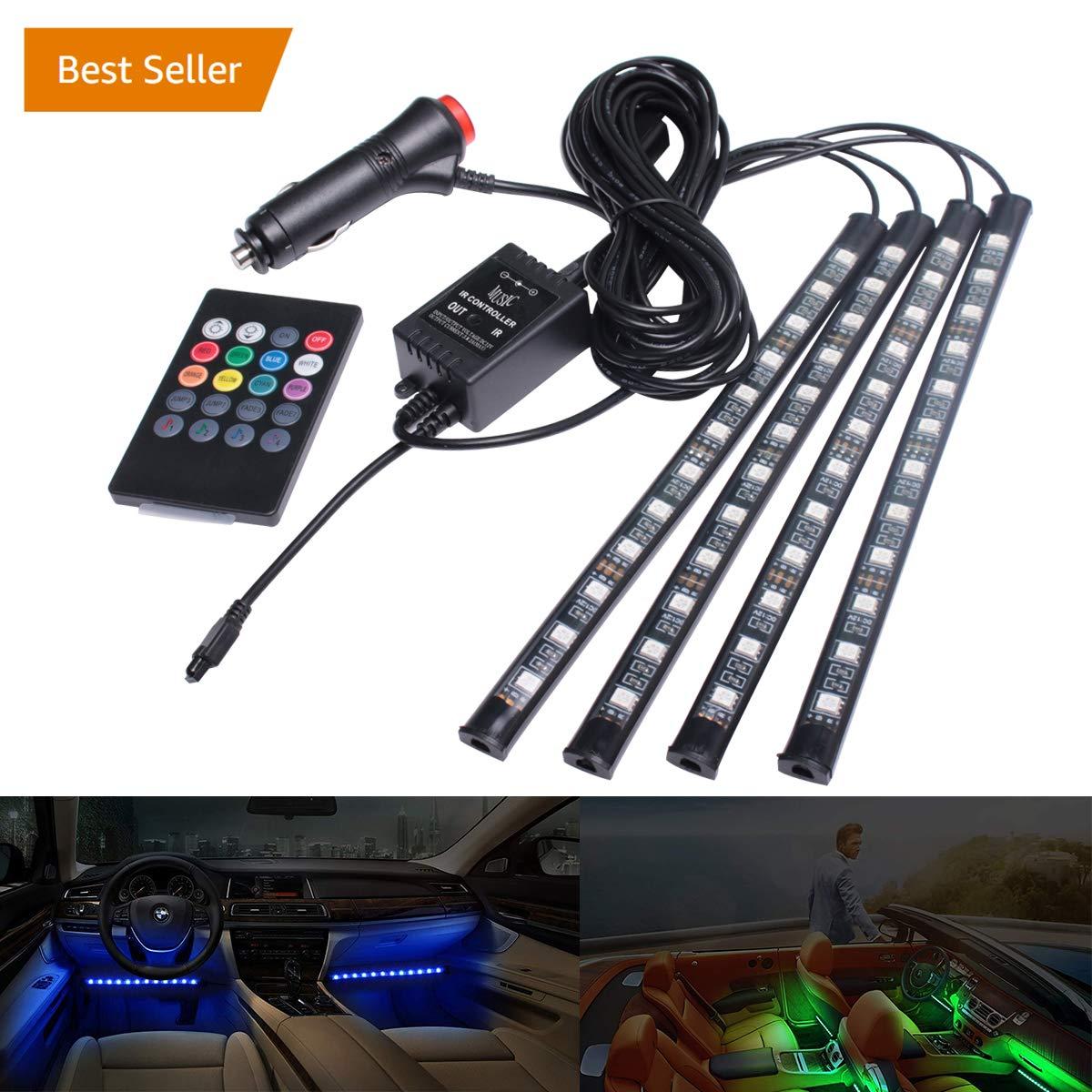 Striscia a LED –  36 LED interni auto luci luci vano piedi regolabile kit di illuminazione per auto, Mood luci colorate luce decorativa Baolicy