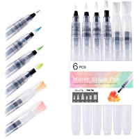 Water Brush Pens-Water Colouring Brush Pens 6pcs for Water Soluble Colored Pencils, Water Color Water-Base Markers…