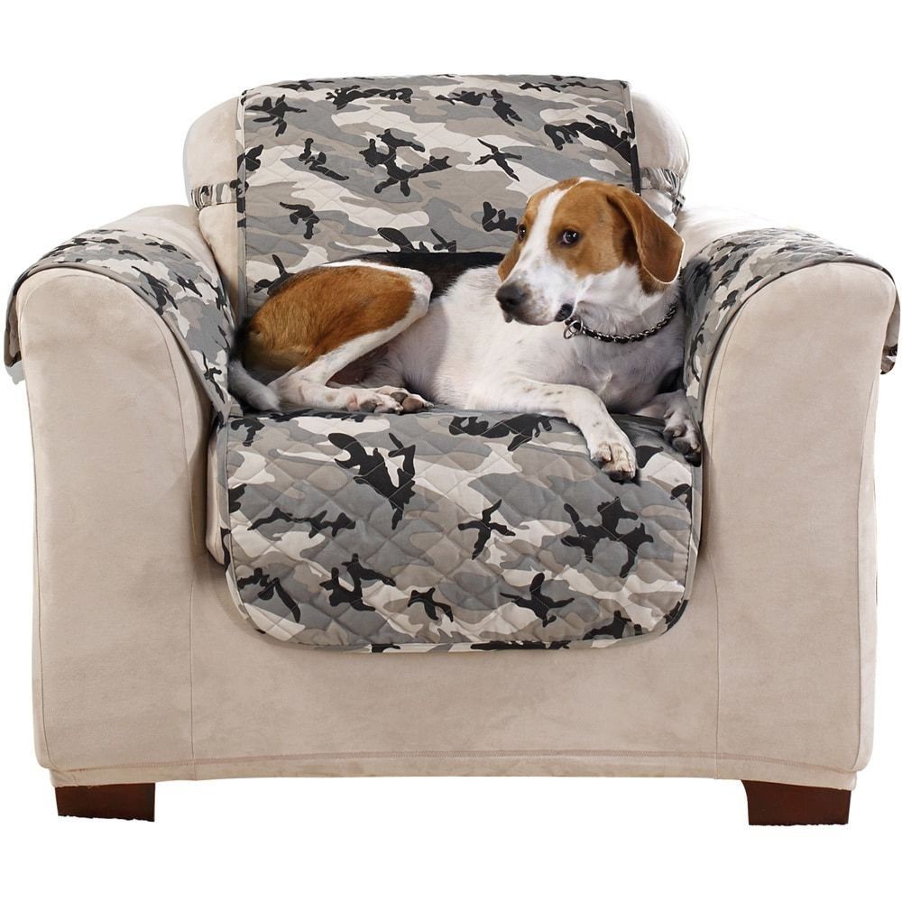 MN 1 Piece Grey Black White Camouflage Print Chair Protector, Camo Cabin Hunting Theme Furniture Protection Cover Lake Cottage House Army Style Couch Covers Pets Animals Plush Suede, Polyester