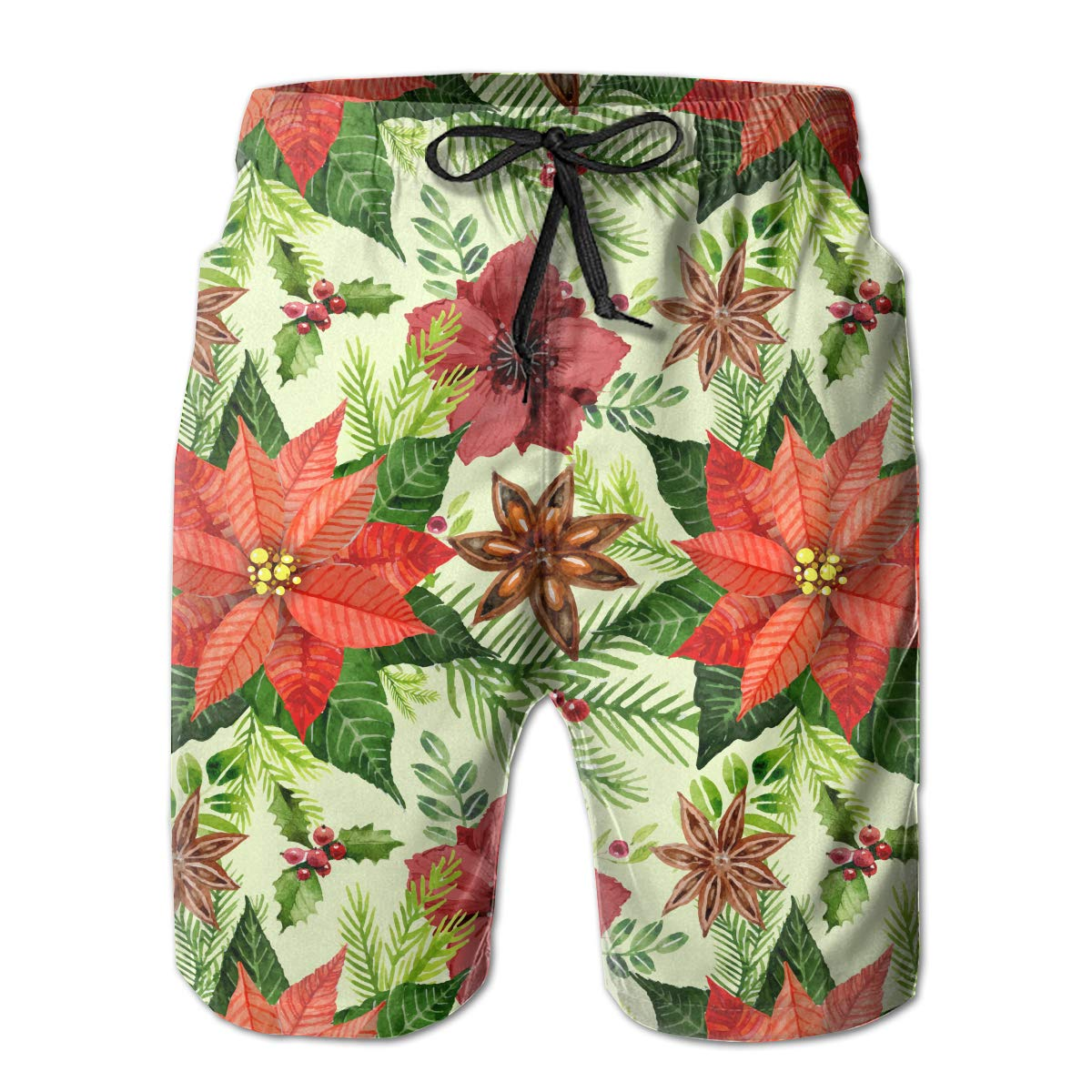 Mens Poinsettia Flower Pattern Shorts Lightweight Swim Trunks Beach Shorts,Boardshort 32
