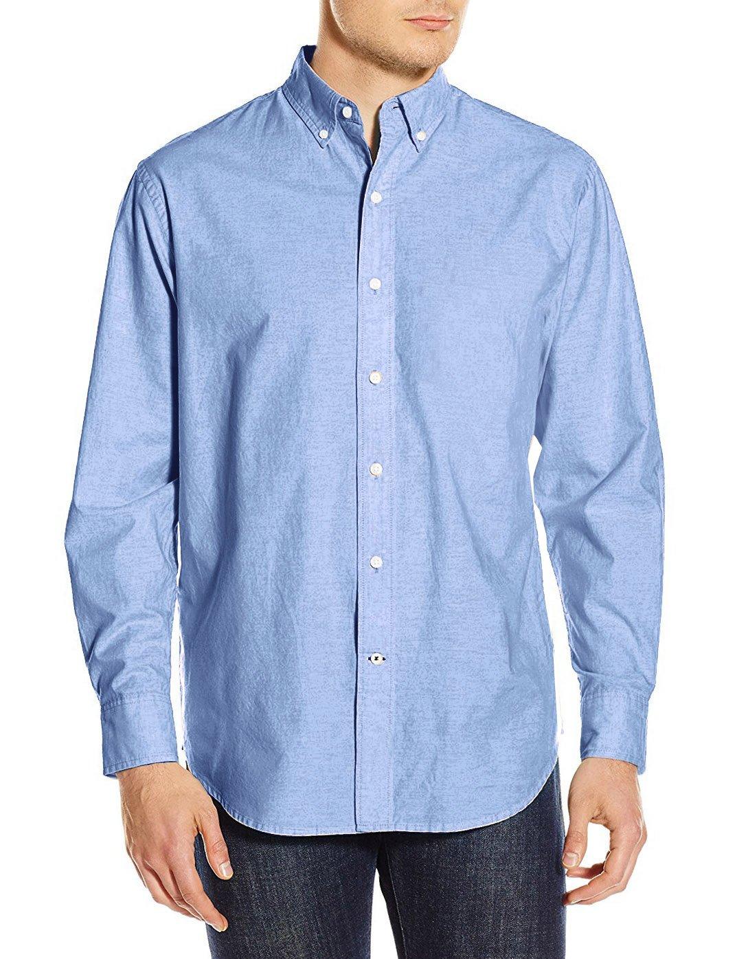 TOPORUS Men's Solid Slim Fit Long Sleeve Button Down Oxford Dress Shirt