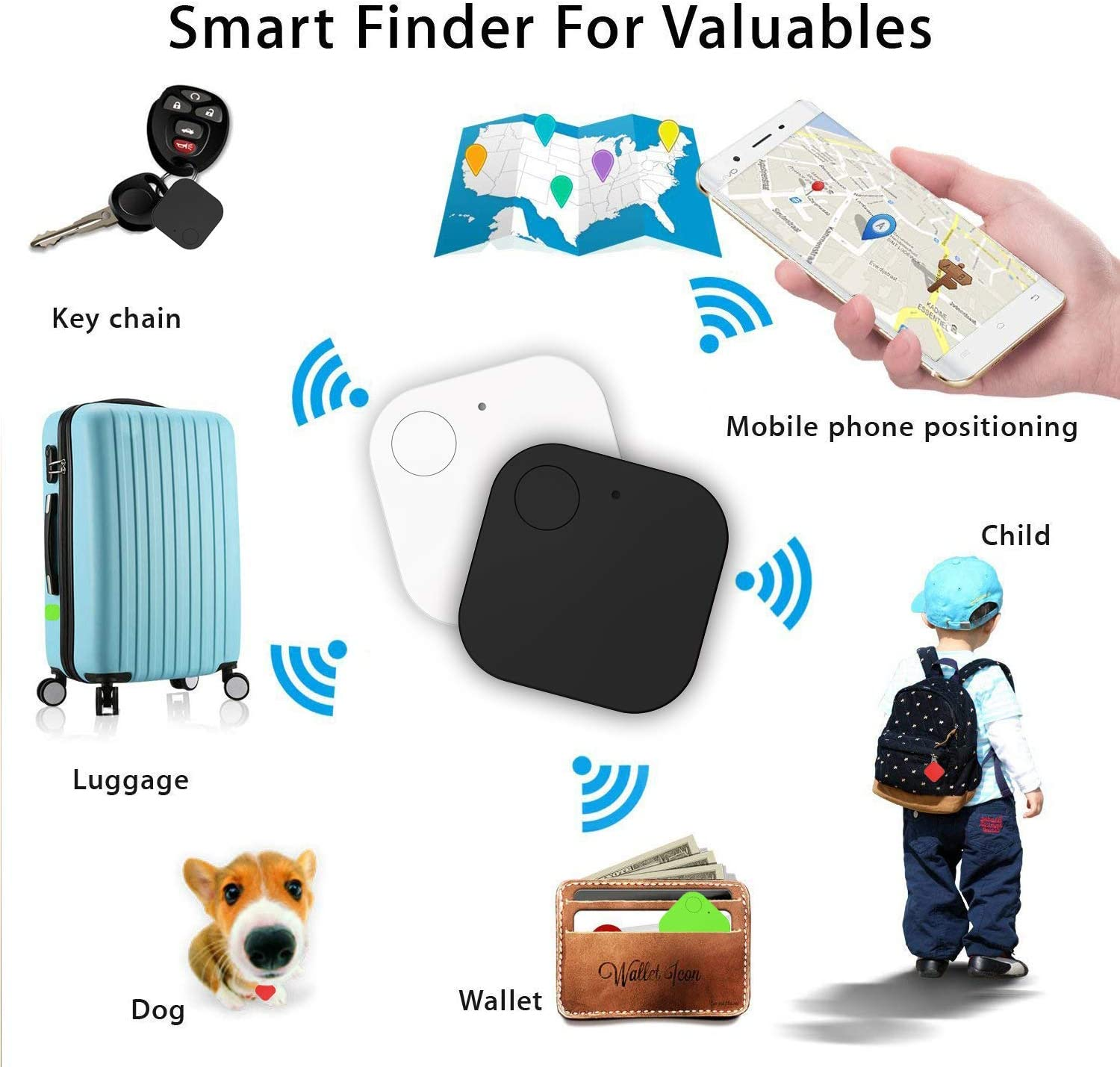 4Pack Bluetooth Tracker with Replaceable Battery Kimfly Key Finder Item Finder Smart Tracker Phone Finder