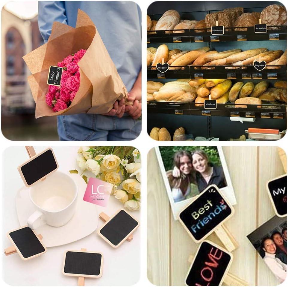 Fotomappe f/ür Memo Bar Hochzeit Lebensmittel-Etikett mit Tafelradierer und Kreide kleine Kreidetafel-Nachrichtentafeln mit Holzclip Mini-Kreidetafel-Clips