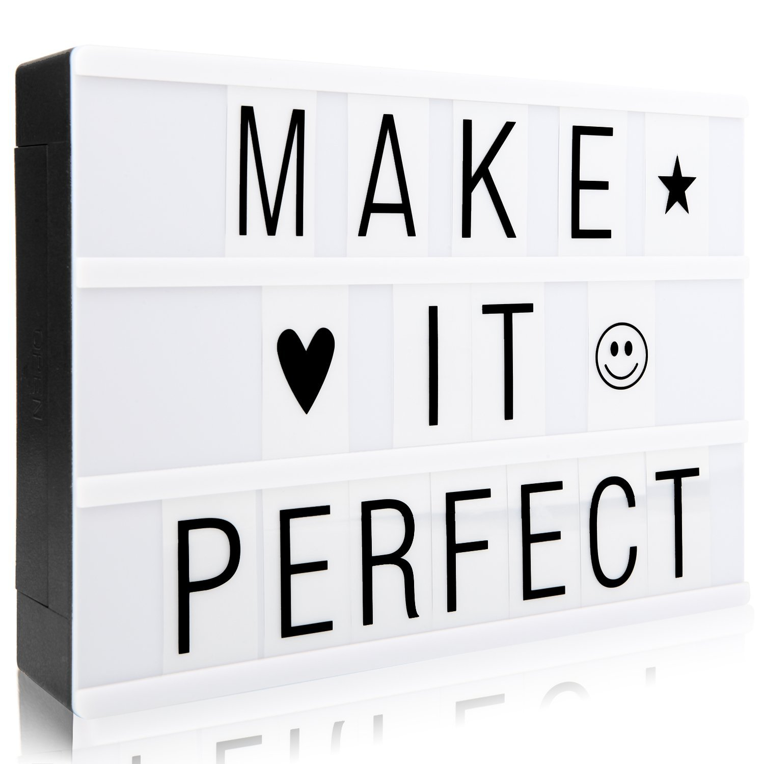 Cinematic Light Sign Box, A4 Light up Box with 90 Letters, Characters, Numbers and Symbols, LED Light Message Box to Create Your Own Message NXDRS
