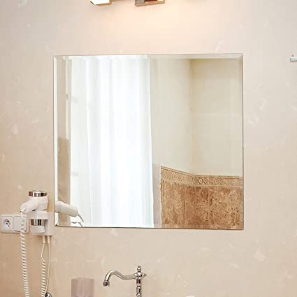 Seven Horses Frameless Square Bevelled Wall Mirror for Dressing,Bedroom,Bathroom, Living Room,Entrance and Makeup Mirror (18 inches X 18 inches Square)