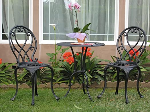 Outdoor Patio Deck Aluminum Furniture 3 Piece Bistro Set B CBM1290