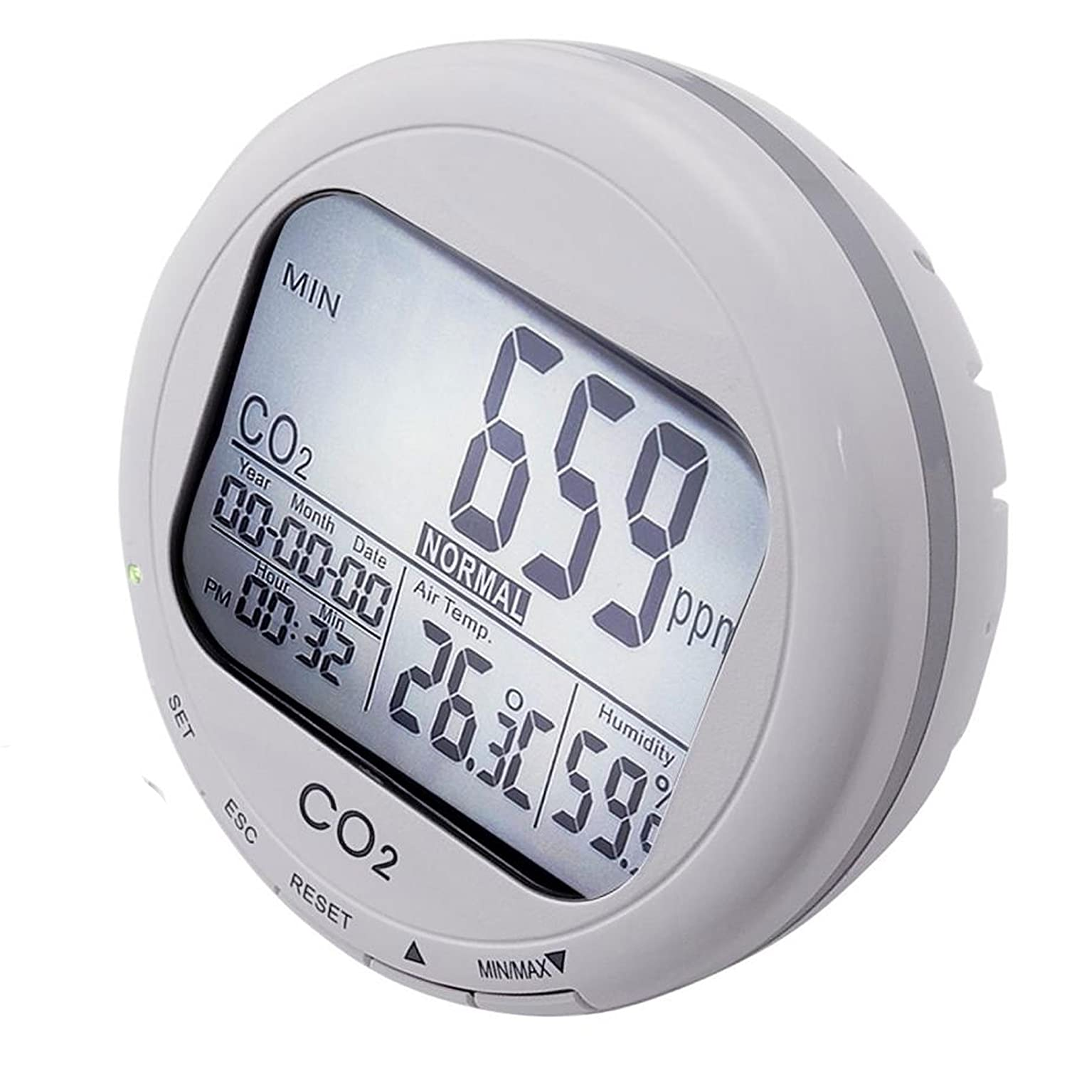 Desktop CO2/RH/Temp 3 in 1 Monitor with Data Logger Logging, Indoor Air Quality 9999 ppm Carbon Dioxide/Temperature Deg C/F /Humidity Meter, Adjustable Audible Alarm Gain Express Holdings Ltd CO98