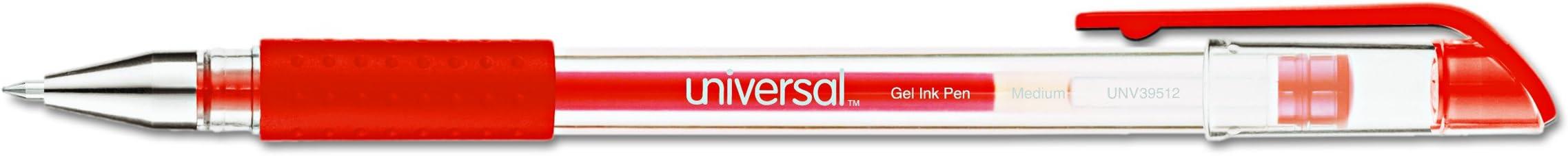 Universal 39512 Roller Ball Stick Gel Pen Dozen Medium Red Ink