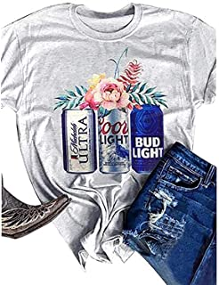f47cc5338ffb Womens Short Sleeve T Shirt Funny Cute Letter Graphic Shirts Retro Drinking  Tees Cute Beer Floral