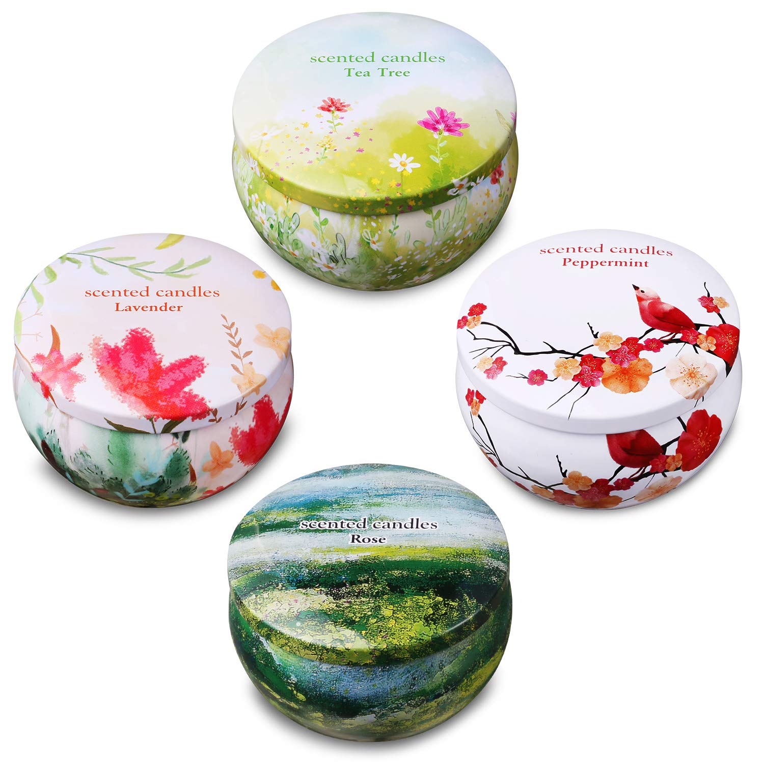 Ahyiyou Scented Candles, Natural Scented Votive Candles Gift Set, 100% Soy Wax Tin Candles for Stress Relief and Aromatherapy Candles - Lavender, Rose, Tea Tree and Peppermint (4 Packs)(2.2 oz)