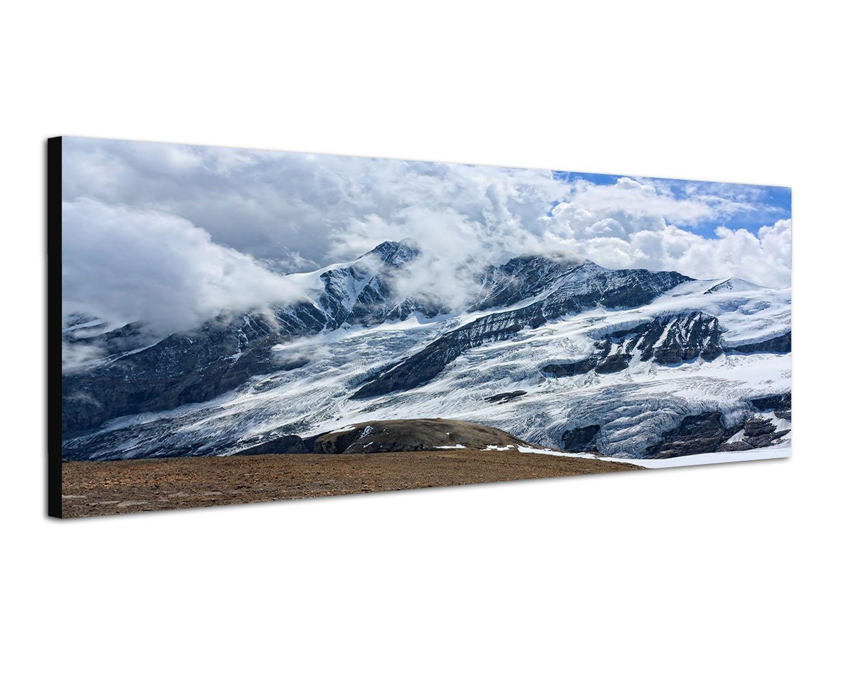 Österreich Bergwelt Großglockner 150x50cm Breitbild als Panorama auf Leinwand und Keilrahmen fertig zum aufhängen - Unsere Breitbild als Panoramaer auf Leinwand bestechen durch ihre ungewöhnlichen Formate und dem extrem detaillierten Druck aus bis zu 100 M