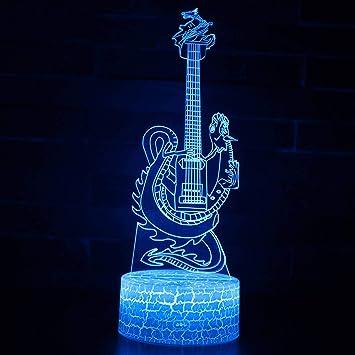 LNLZ Dormitorio de los niños Toque Colorido USB luz nocturnaTouch 3D Control Remoto de la Guitarra