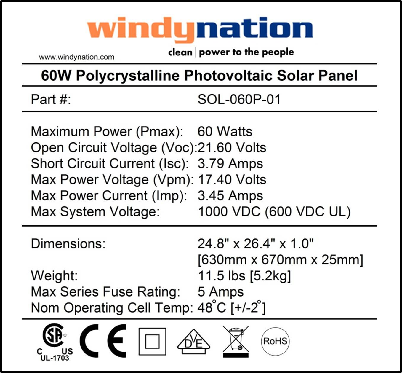 Windynation 60 Watt 60w Polycrystalline 12v 12 Volt Solar Panel Charger Controller Circuit Battery Boat Rv Gate Off Grid Garden Outdoors