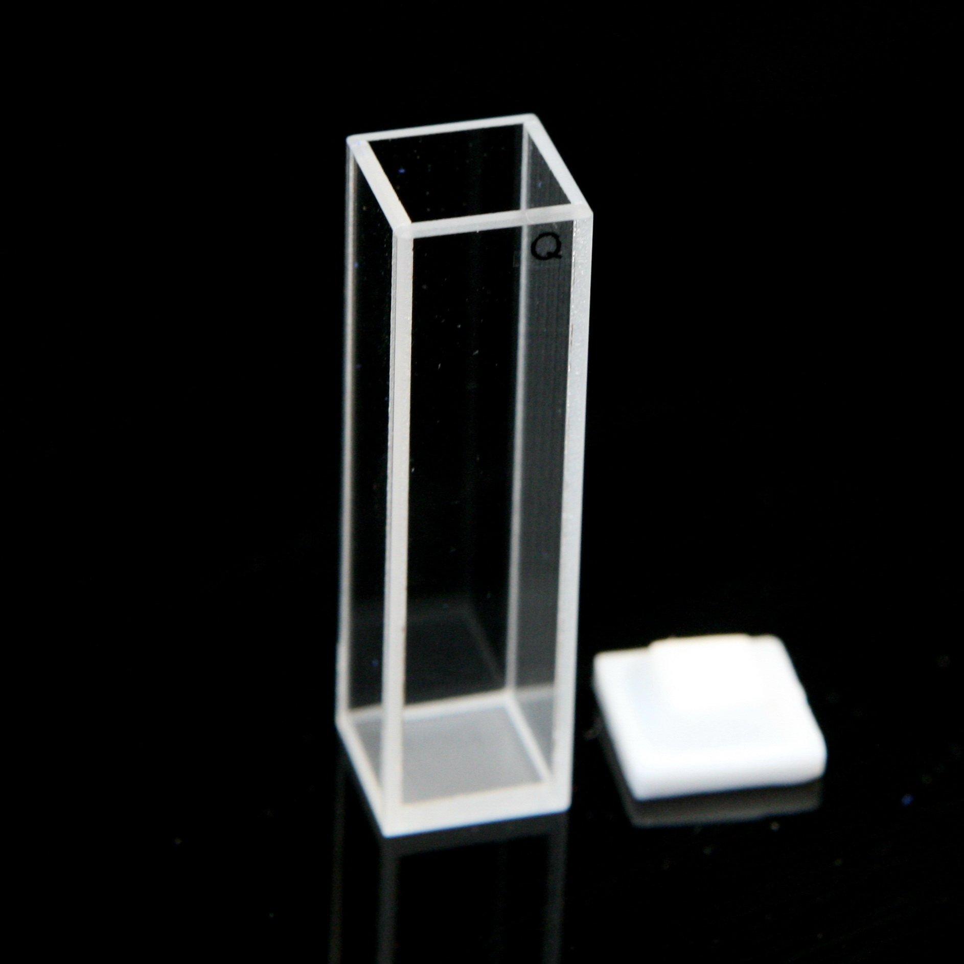 Fluorescence Quartz Cuvette Cell, 10mm, Teflon Lid, for Fluorometer by Science Outlet