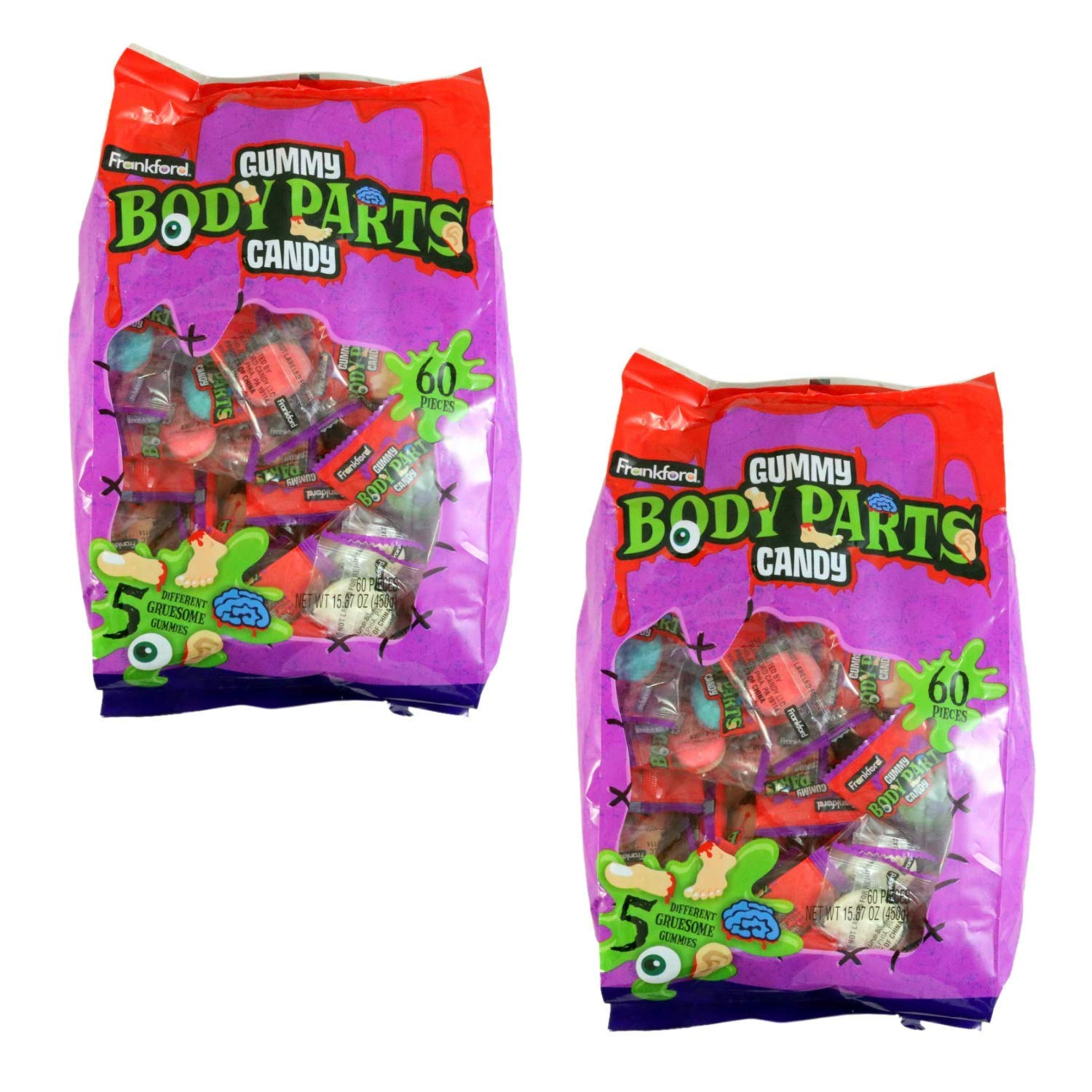 Halloween Assorted Gruesome Gummy Body Parts Candy, 15.87 oz Bag (2) by Halloween Candy