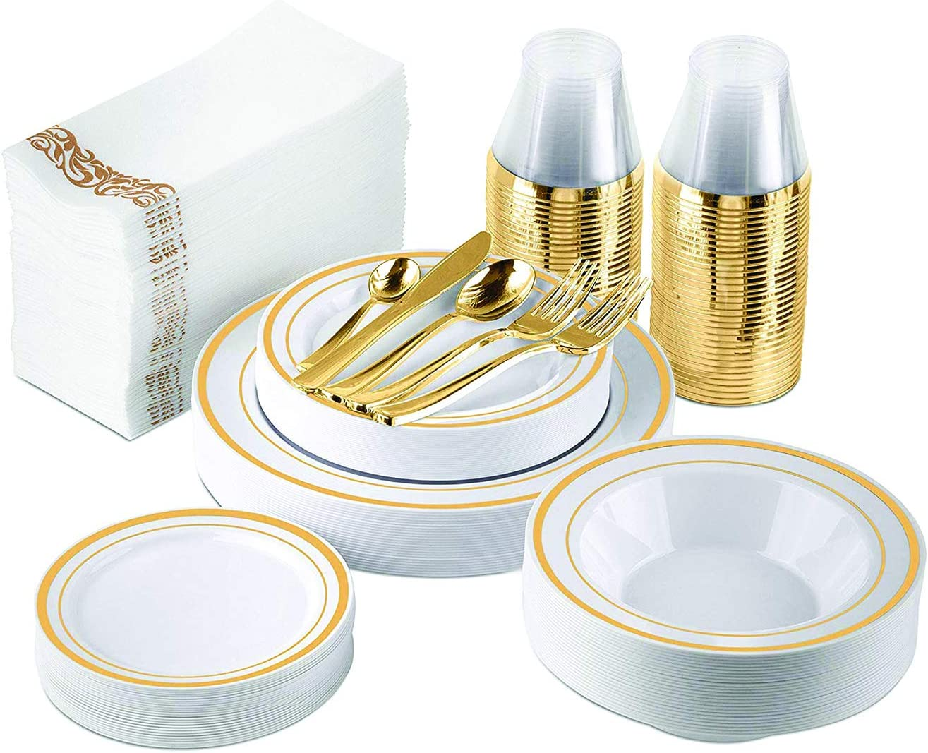 Nice Plastic Plates Gold - 300 Piece Set for 25 Guests Includes 75 Disposable Plates, 50 Forks, 25 Knives, 25 Spoons, 25 Mini Spoons, 25 Bowls, 25 Gold 9 Oz Cups, 50 Guest Towels (Gold Rim)