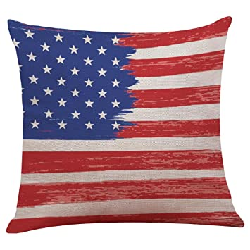July 4th Patriotic Vintage American Flag Pillow Case Cotton Linen Cushion  Cover Couch Throw Pillow Case