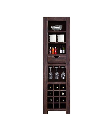 Kingwood Bar Cabinet with Bottle Storage & Single Drawer with Shelf in Sheesham Wood with Walnut Finish (Dark Brown Finish)