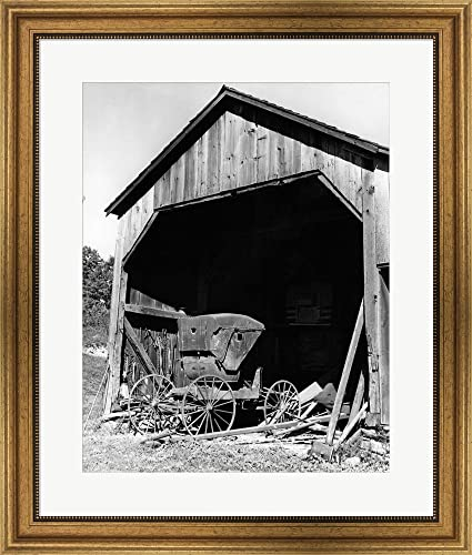 Amazon.com: 1960s Farm Shed Sheltering Old Buggy by Vintage PI ...
