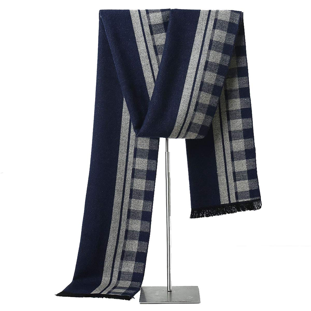 Mens Winter Cashmere Scarf - Fashion Formal Soft Scarves for Men (Gray/White Plaid)