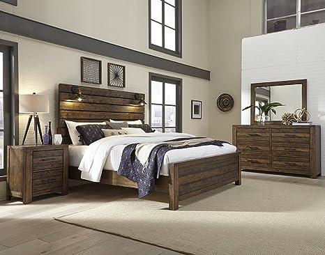 Amazon.com: Roundhill Furniture b290qdmn dajono rústico 4 ...