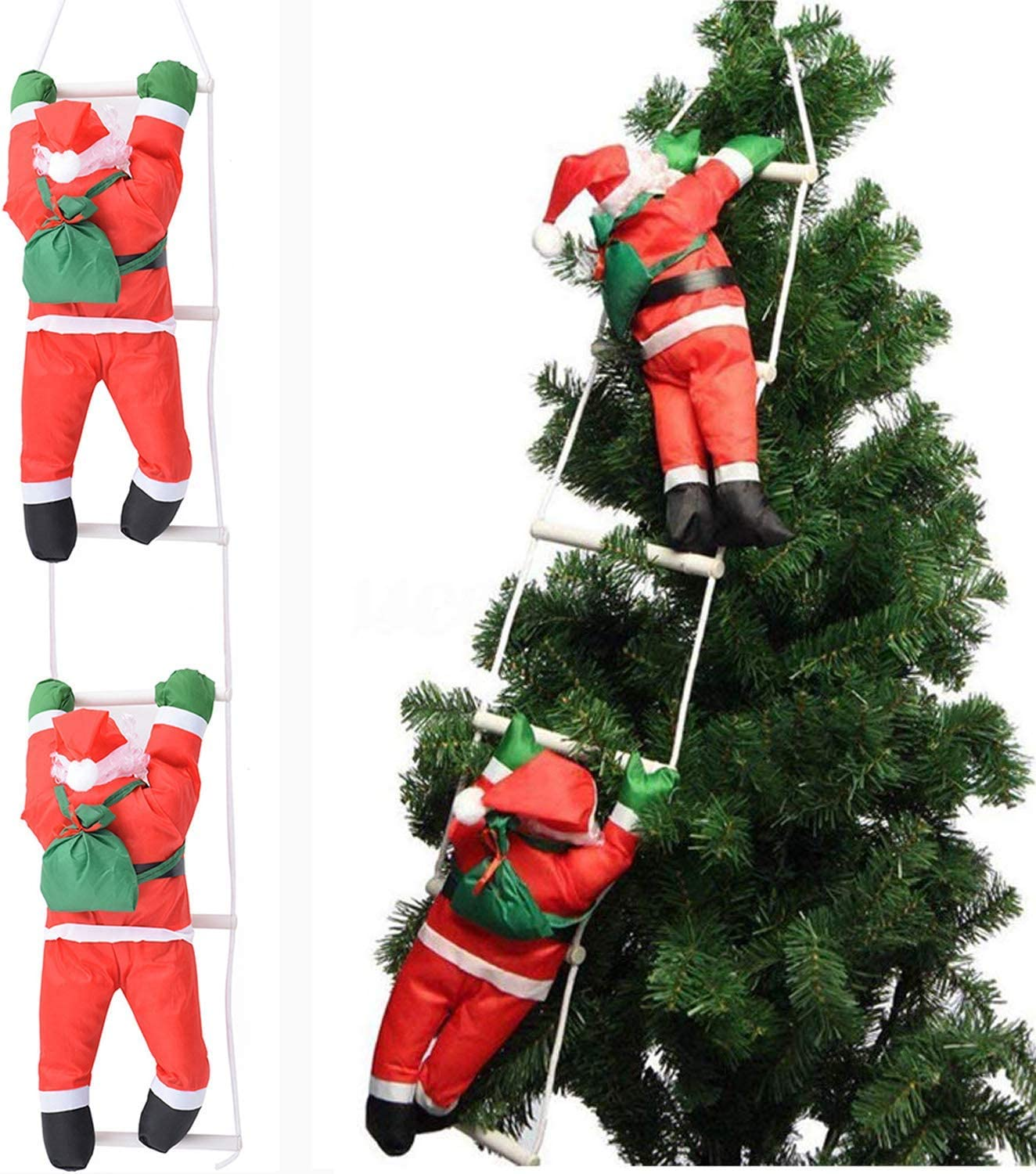 Bluelliant Christmas Santa Claus Climbing On Rope Ladder for Xmas Tree 30.31 inch Big Size Hanging Home Decor Ornaments (2 Santa Claus)