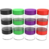Stalwart 75-0268 12 Piece Storage Jars with Colored Lids, 20ml, Clear