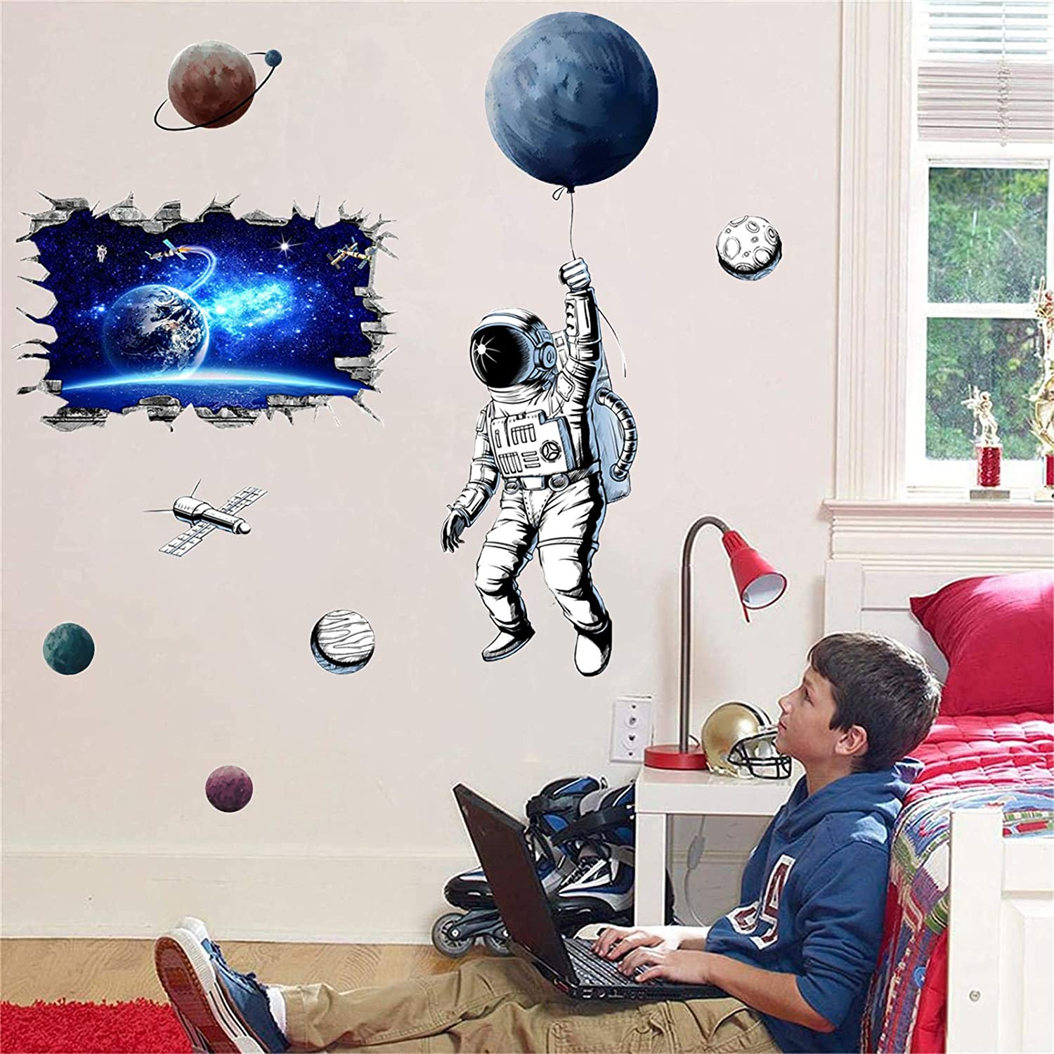 Space Decor Astronaut Planets and 3D Blue Cosmic Galaxy Wall Stickers for DIY Wall Decals Wall Bedroom Decor  65.3in x 63.7in  2 Sets of Combinations for Kids Bedroom Posters for Boys Room