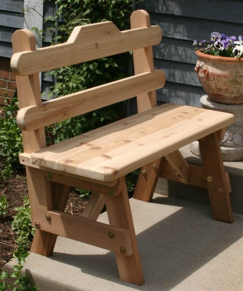 Cedar Tab Back Bench 3Ft