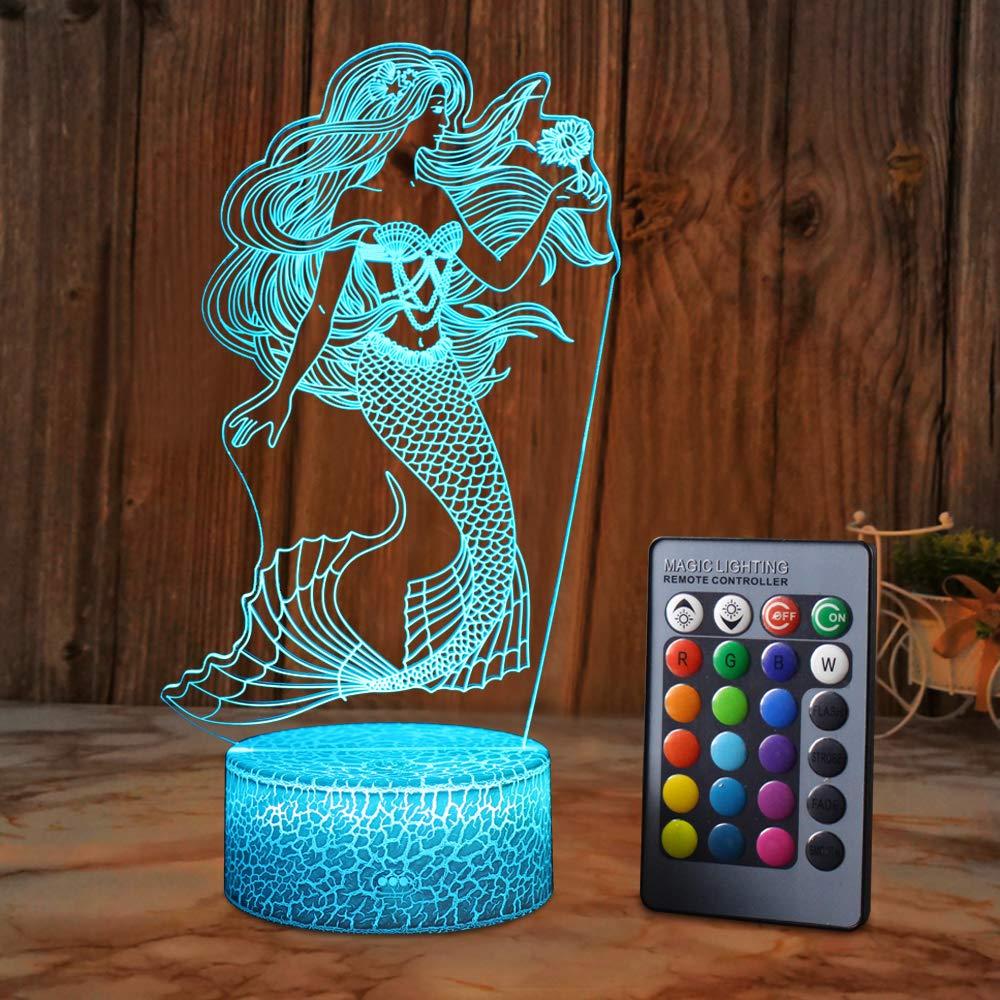 SZLTZK Mermaid 3D Illusion Lamp for Girl Mermaid Lamp Christmas Birthday Gift The Little Mermaid LED Night Light 16 Colors Changing for Kids Boy Child