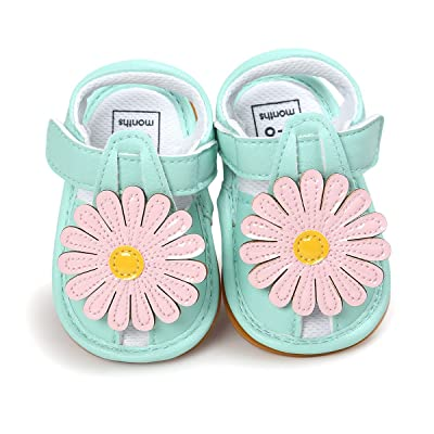 Baby Girl Toddler Summer Flower Sandals Anti-skid Soft Sole Mary Jane Crib Shoes