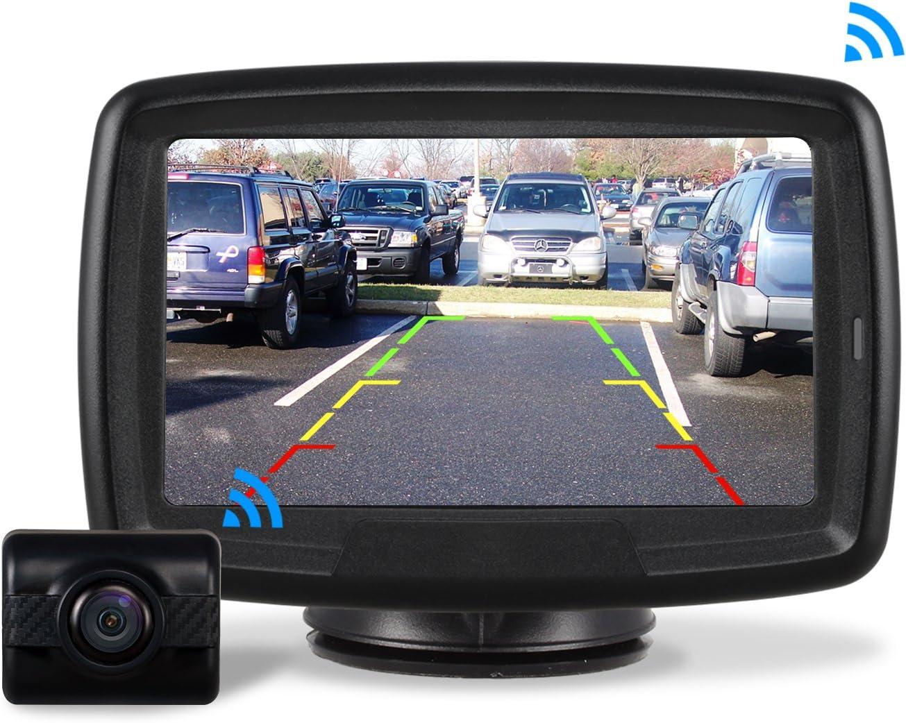 AUTO-VOX TD-2 Kit de cámara de marcha atrás digital inalámbrica con monitor TFT, 10,9 cm Cámara de coche impermeable IP 68 con buena visión nocturna,sistema de asistencia para aparcamiento 12V/24V