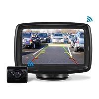 "AUTO-VOX Rückfahrkamera Drahtlos Set mit 4.3"" Zoll/11 cm LCD Monitor, Wireless Einparkhilfe 12V-24V mit IP68 Wasserdichte Digital Rückfahrkamera mit Gute Nachtsicht (TD2)"