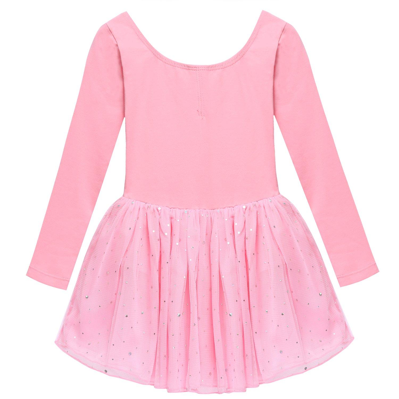 Arshiner Girls' Classic Long Sleeve Sequins Tutu Dress Leotard AMM004997