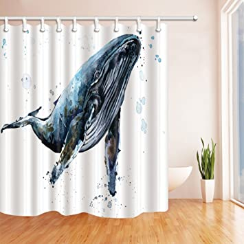 GoEoo Ocean Underwater Whale Shower Curtains Watercolor Humpback Mildew Resistant Polyester Fabric Bath For