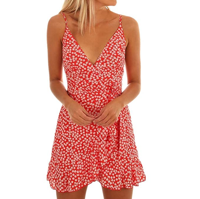 POLP Vestidos Largo ◉ω◉ Sexy Cuello V Vestidos Honda Ropa Mujer Verano 2018 Floral Casual Playa Falda Verano para Elegantes Tallas Grandes Vestidos, ...