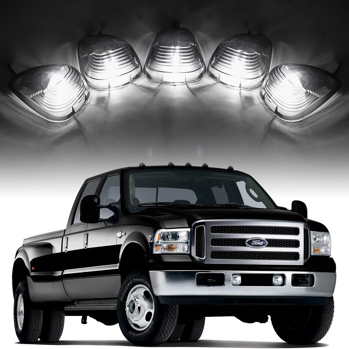Partsam 5x Smoke Cab Roof Running Light Marker Light Lens +5xT10 6-5730 SMD HID Xenon White LED for 1999-2016 Ford E-150 E-250 E-350 E-450 F-150 F-250 F-350 F-450 F-550 F-650 F-750 Super Duty