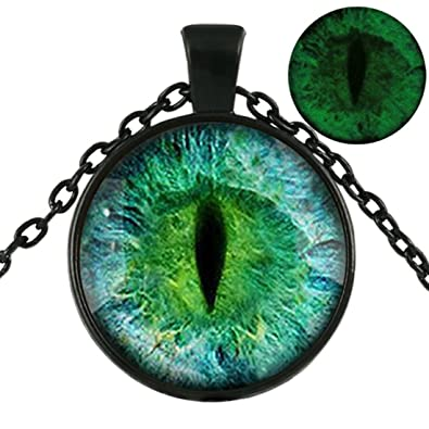 c7f6efe02c1d80 Glowing Cat Eye Necklace , Glow in the dark , Dragon Eye Necklace , Silver  Gold