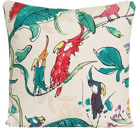 Hecho A Mano Pájaros Azules en cubierta Cojín Blanco 100/% Algodón varios Tamaños