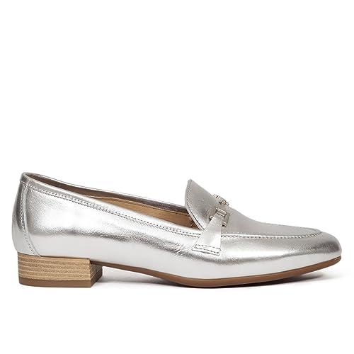 Zapato Plano de Mujer Plateado Elegante. Slipper Mujer en Piel Hecho en España. Colección