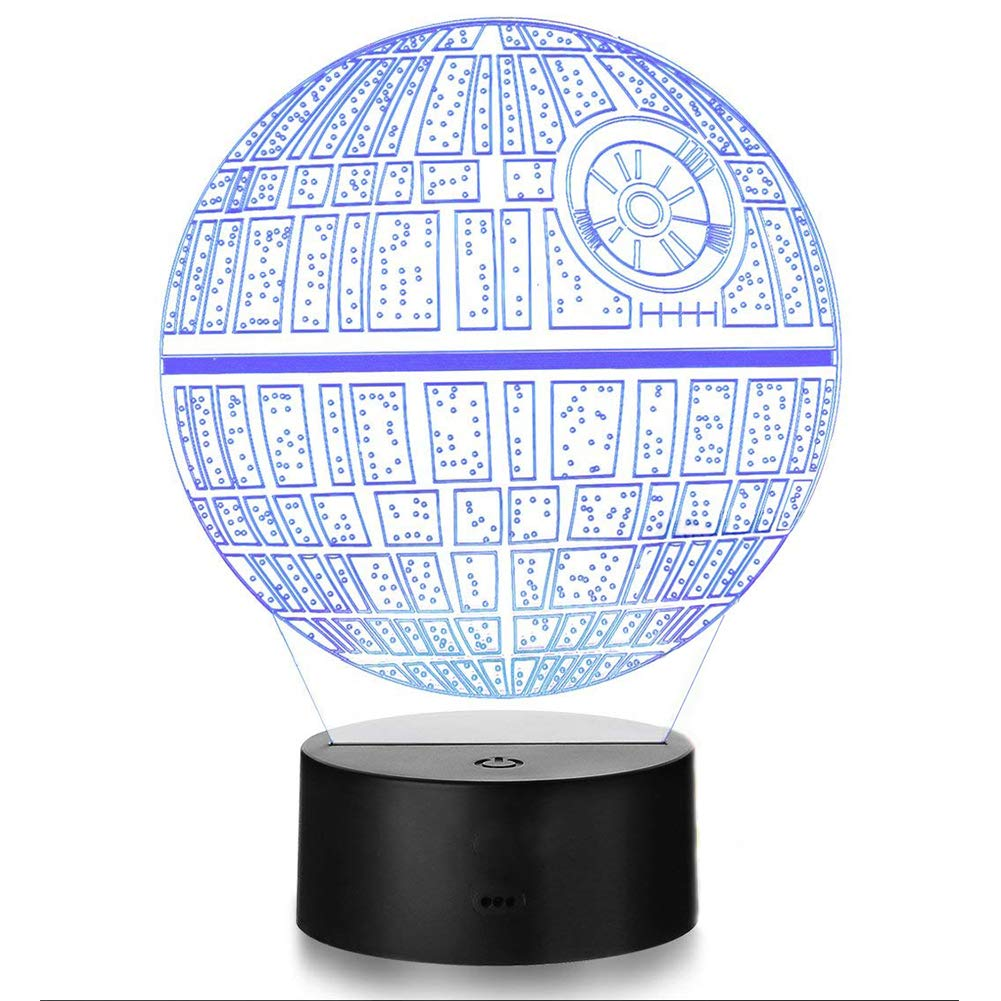 AWLIET 3D Optical Illusion of Night Light Star Wars r2-d2 Series/Death Star/Millennium Falcon USB Power 7 Color Change Color Touch Home Decoration Lamp (Death Star)
