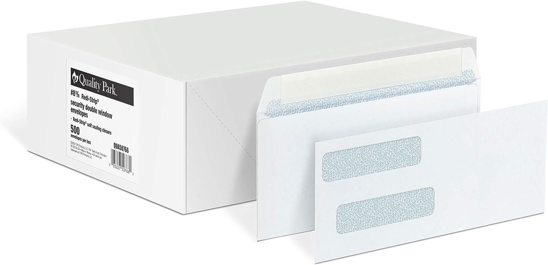Quality Park #8 Double Window Security Envelopes for QuickBooks Checks, Redi-Strip Self Seal Closure, 3 5/8 x 8 11/16, 24 lb White, 500/Box (QUA50766)