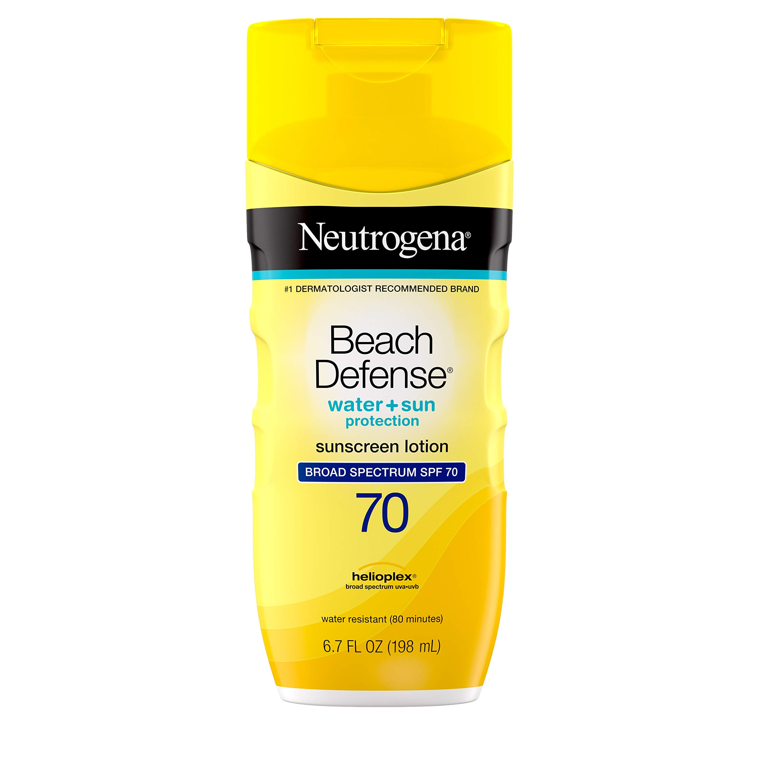 Neutrogena Beach Defense Water Resistant Sunscreen Body Lotion with Broad Spectrum SPF 70, Oil-Free and Fast-Absorbing, 6.7 oz